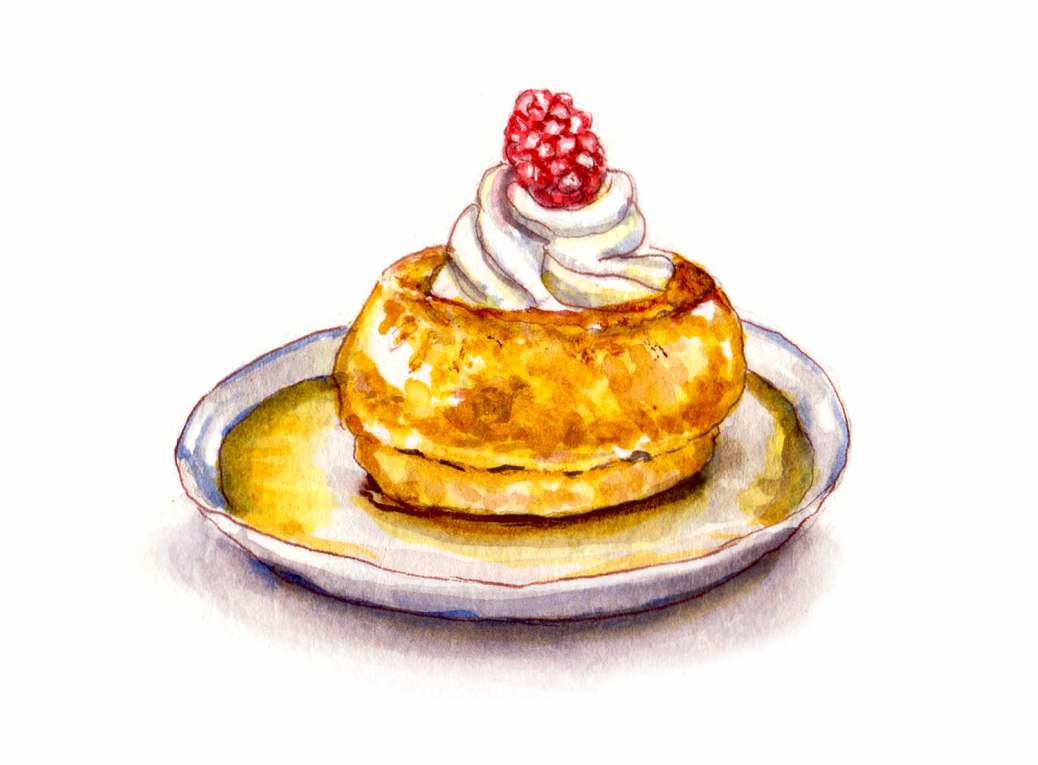 Day 14 - World Watercolor Month - le 14 juillet - baba au rhum