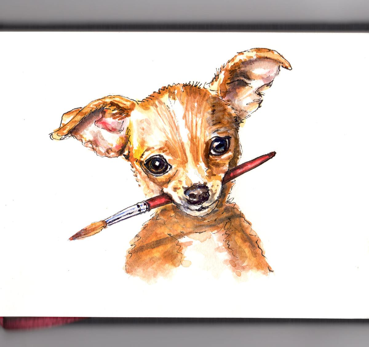 Day 18 - World Watercolor Month Furry Friends Chihuahua holding paint brush - Doodlewash