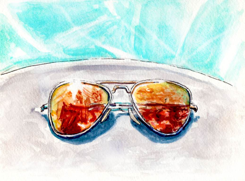 Day 19 - World Watercolor Month Sunglasses by the Pool - #doodlewash
