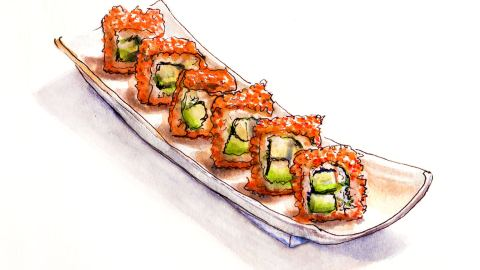 Day 20 - World Watercolor Month - California Roll Dreaming - Doodleash