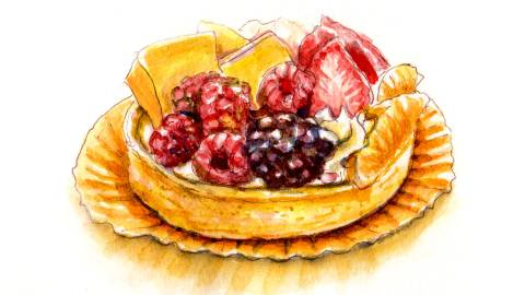 Day 26 - World Watercolor Month - Food Illustration - Some Random Tart - Free And Easy - Doodlewash