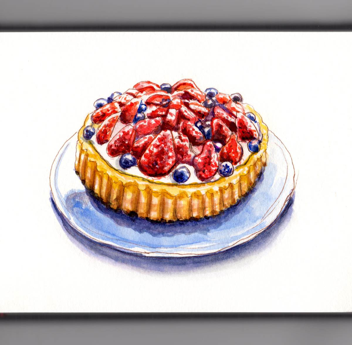 Day 4 - World Watercolor Month - Red White And Blue Strawberries Blueberries Dessert - #doodlewash