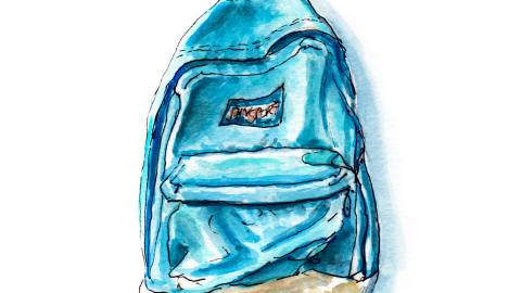 Day 7 - World Watercolor Month - Friday Night Memories Jansport Backpack 80s - Doodlewash #WorldWaterocolorMonth