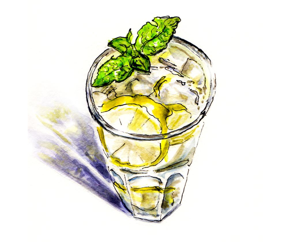 Day 8 - World Watercolor Month - Glass of Lemonade Cooling Off - Doodlewash