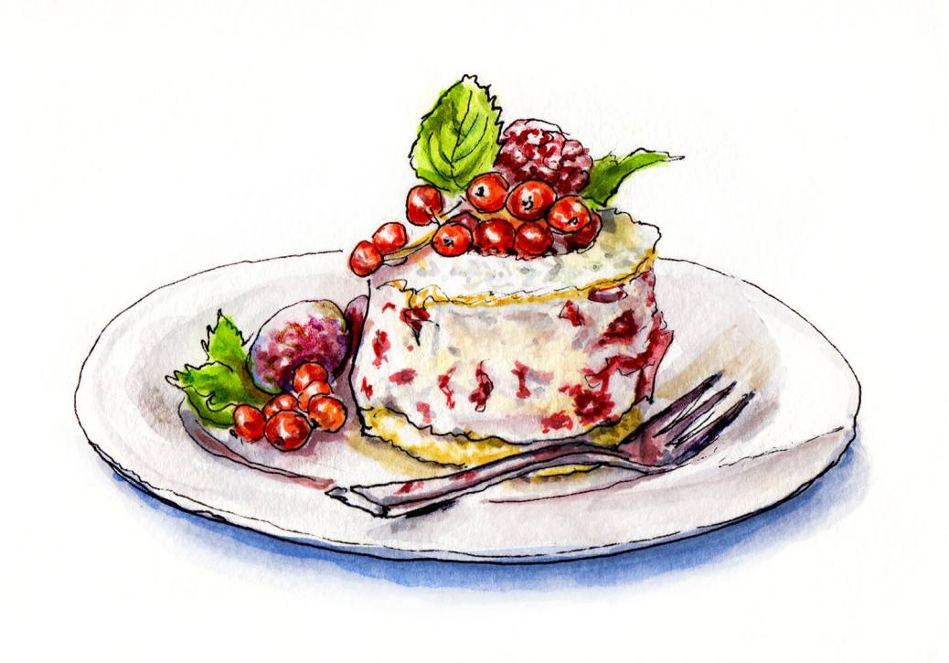 Day 9 - World Watercolor Month - Christmas In July dessert - Doodlewash