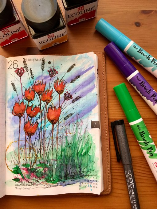 Royal Talens ecoline watercolors on tomoe river paper in a hobonichi techo planner painting by jessica seacrest