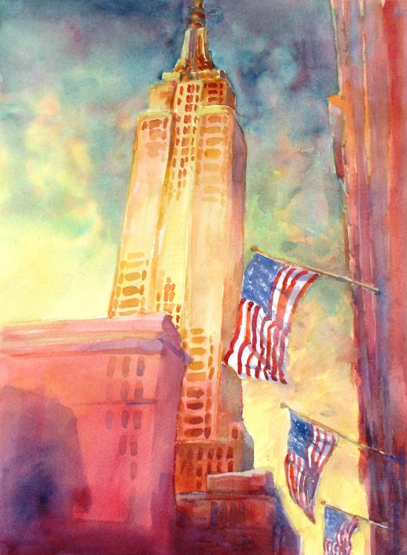 """Empire State"", ""Little Joshua Creek, No. 2″, is an original watercolor 18&#"