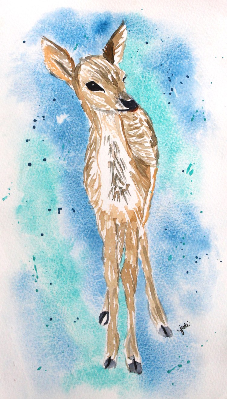 A Fawn at Dawn Fawn at Dawn Watercolor 6×10 140lb Saunders Cold Press