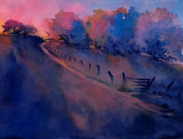 """Hill Country Last Light"" is an original watercolor, 15″ X 11″ on 300-pound"