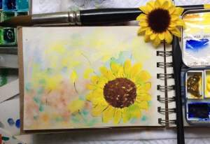 #worldwatercolormonth. Day 16 those daisies keep coming around. Haiku: 'How crazy is this! Spl
