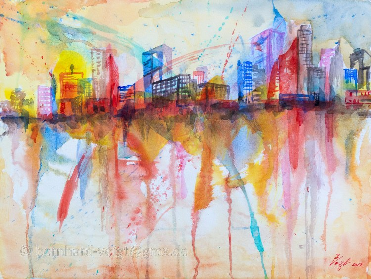 Stadtansicht III – Cityscape III Watercolour, paper, 30cm x 40cm, rough, 250g Stadtansicht III