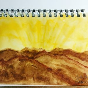 My work for the July 2017 watercolor month challenge (golden views) IMG_9187