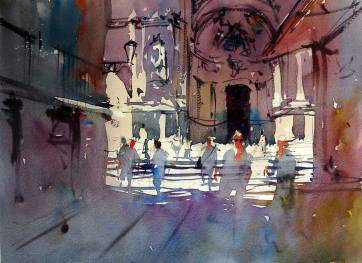 World Watercolor Month - Watercolor by Tim Wilmot - Iglesia_de_Santa María_3_colours - Doodlewash
