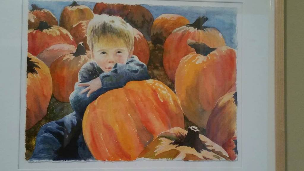 A watercolor I did of my son from a photo I took of him when he was four. My son age four