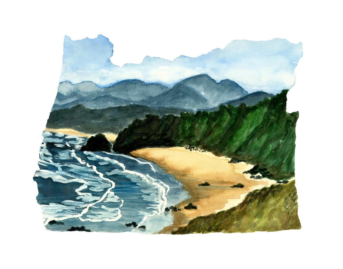#WorldWatercolorMonth - Watercolor by TannaBelle - Oregon Map - #doodlewash