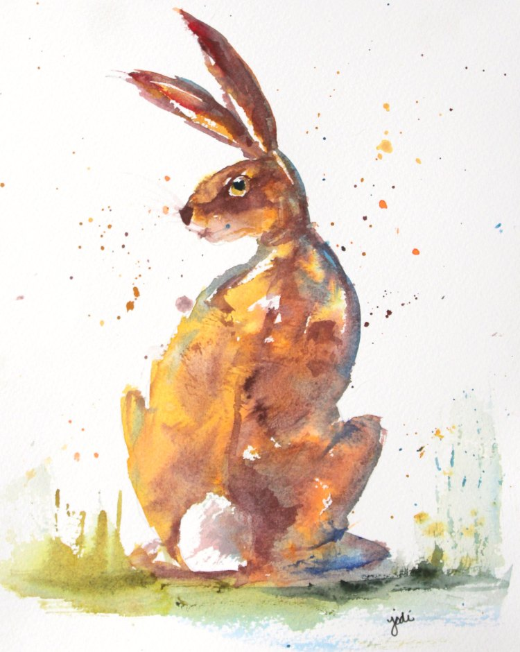 A Rare Hare with Flair Rare Hare with Flair Watercolor 8×10 140 lb Sanders Hot Press 1