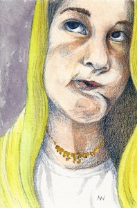 Day 16. Using a sktchy model. Watercolor and colored pencil. 4″ x 6″ SCAN0225