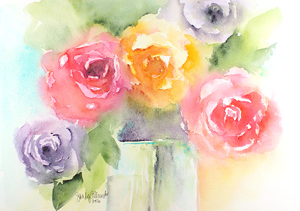 World Watercolor Month - Watercolor by Sandy Allnock - Bouquet - Doodlewash
