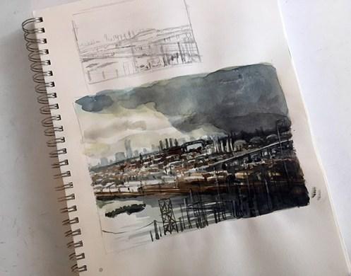 World Watercolor Month - Watercolor by Sandy Allnock - Jersey Overlook - Doodlewash