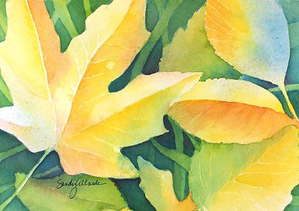 World Watercolor Month - Watercolor by Sandy Allnock - Leaves - Doodlewash