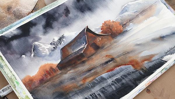 World Watercolor Month - Watercolor by Sandy Allnock - Mormon Barn - Doodlewash
