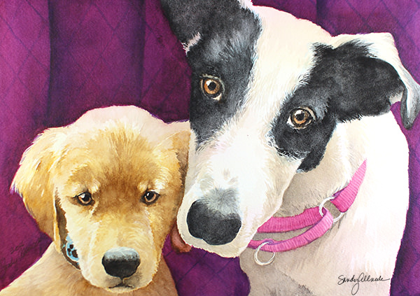 World Watercolor Month - Watercolor by Sandy Allnock - Puppies - Doodlewash