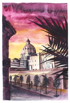 World Watercolor Month - Watercolor by Sandy Allnock - Vatican Sunset - Doodlewash
