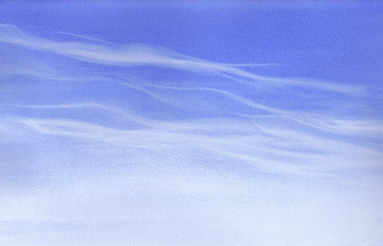 Summer afternoon sky on a quiet day. I love the wispy clouds. #worldwatercolormonthWind Clouds