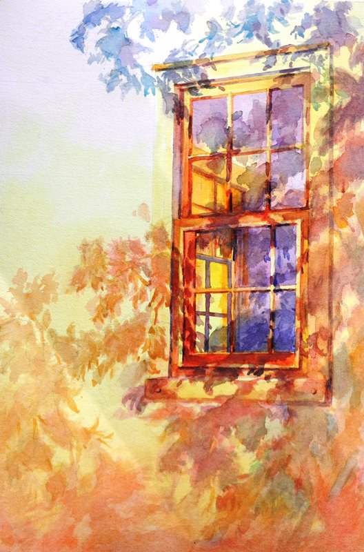 """""""The Window Out Back"""" is an original watercolor 15″ X 22″ on 300-pound Kilim"""