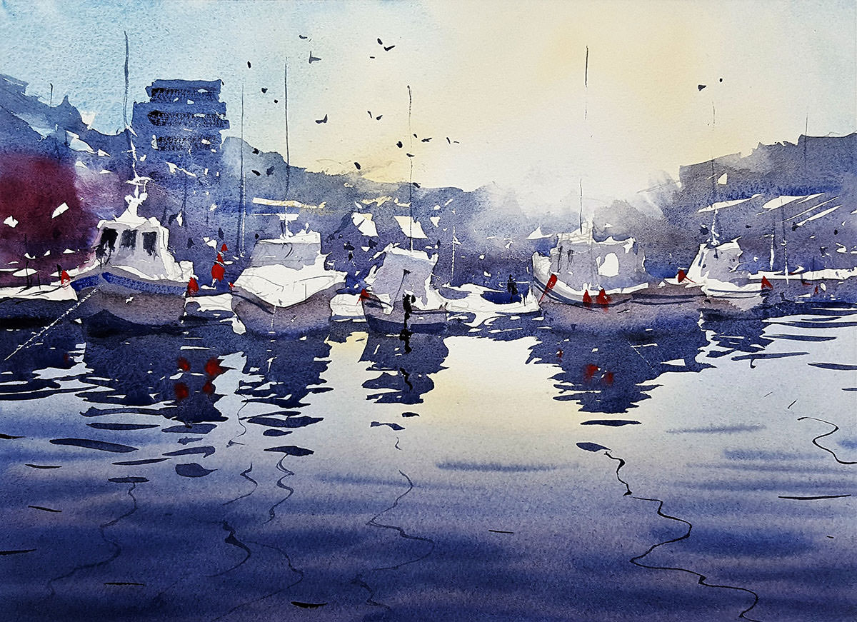 World Watercolor Month - Watercolor by Tim Wilmot - bristol savages morning has broken - Doodlewash