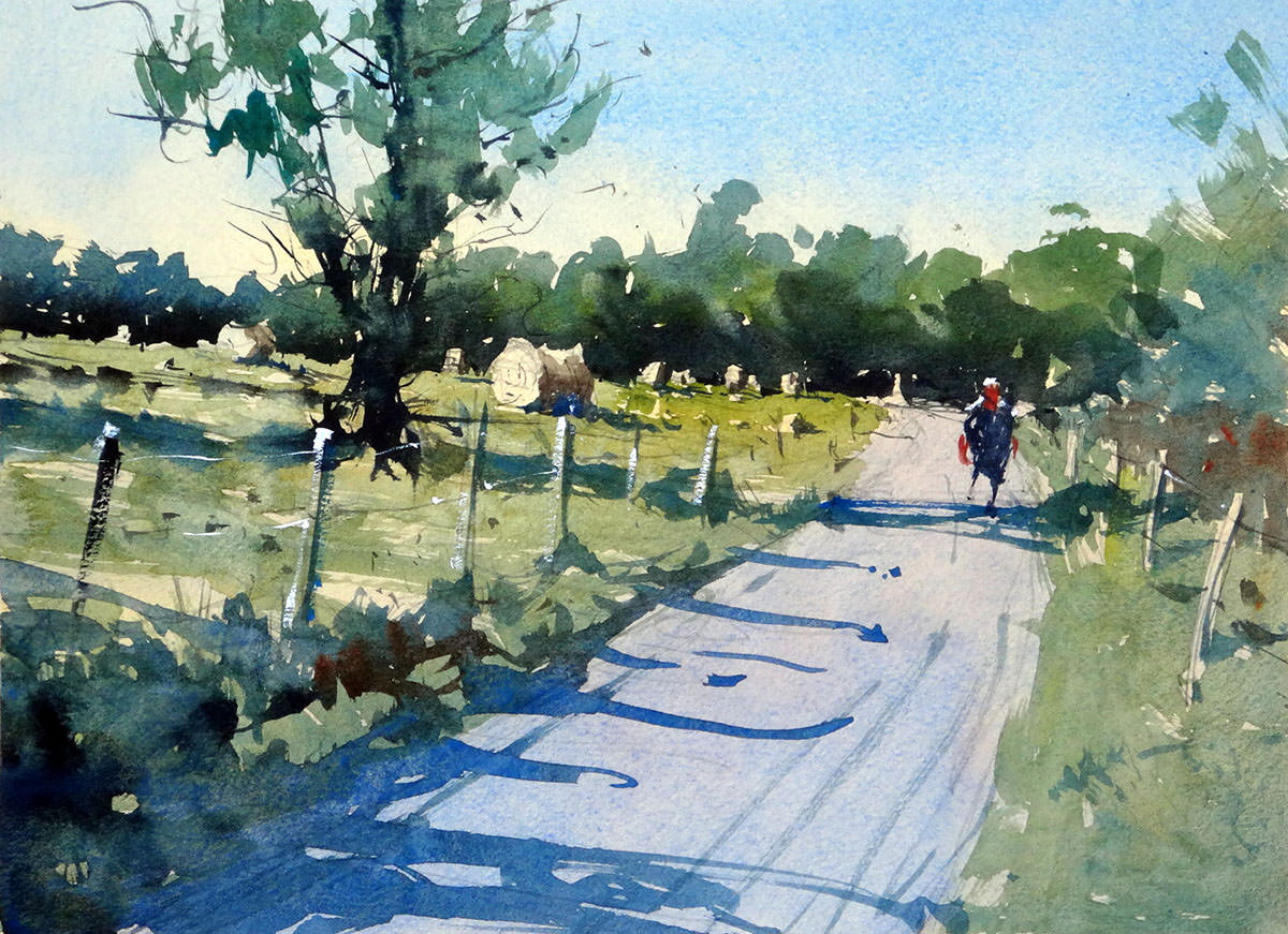 World Watercolor Month - Watercolor by Tim Wilmot - dordogne country road and round bales of straw - Doodlewash