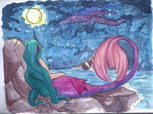 Hi. This is something I create with watercolor and indian ink. I hope you like it. I\'m new he