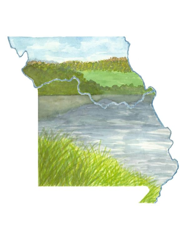 #WorldWatercolorMonth - Watercolor by TannaBelle - Missouri Map - #doodlewash