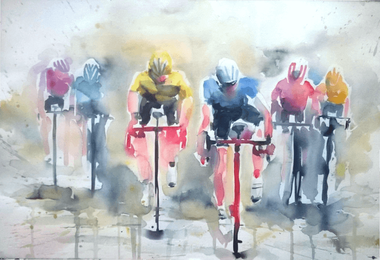"Hello everybody! ""Off road in Chianti"" or Running Wild! Watercolor 38x56cm on paper 300"