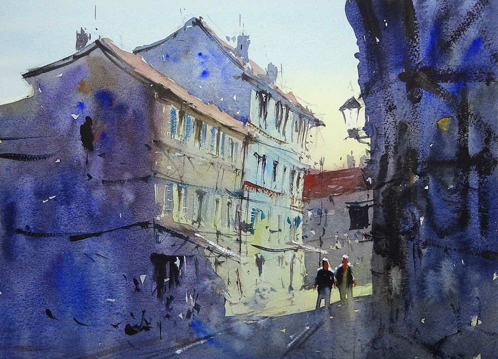 World Watercolor Month - Watercolor by Tim Wilmot - old Bergerac streets in shadow - Doodlewash