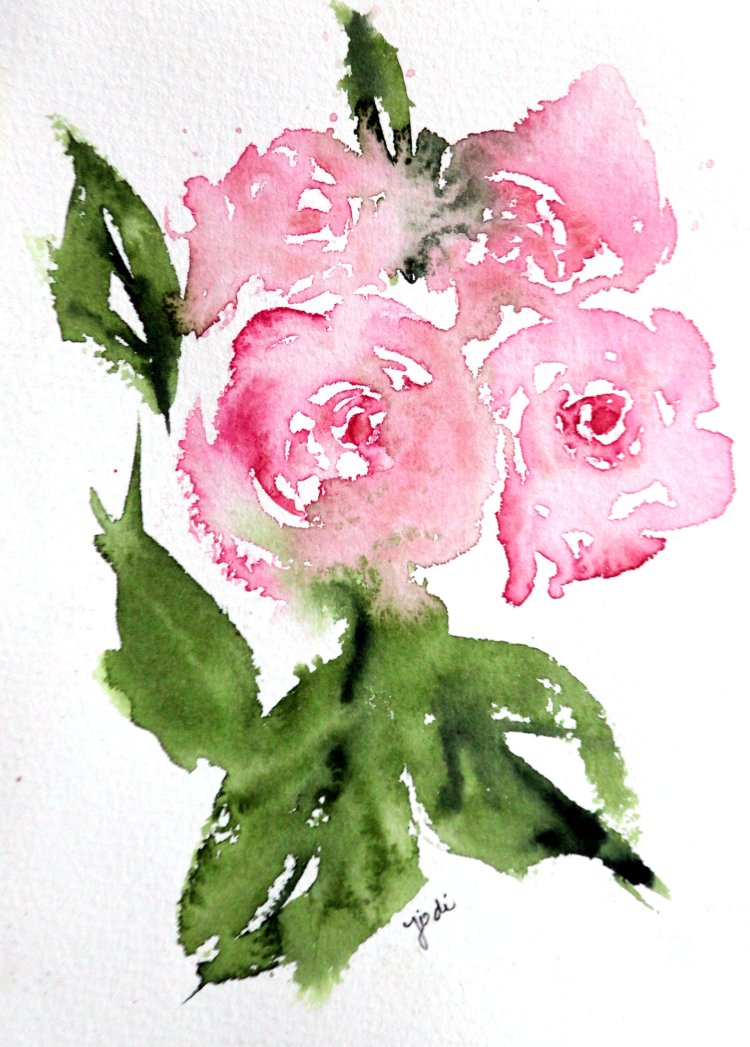 Pink Roses pink roses warm up painting 5×7 saunders 140lb cold press
