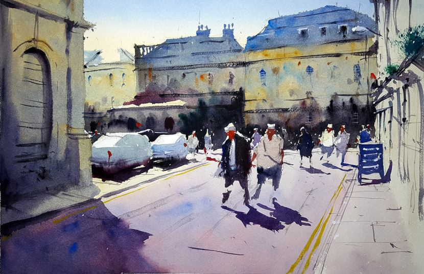 World Watercolor Month - Watercolor by Tim Wilmot - theatre_royal_Bath_commission - Doodlewash
