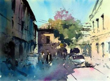 World Watercolor Month - Watercolor by Tim Wilmot - tree_in_blossom_st_foy_la_grande - Doodlewash