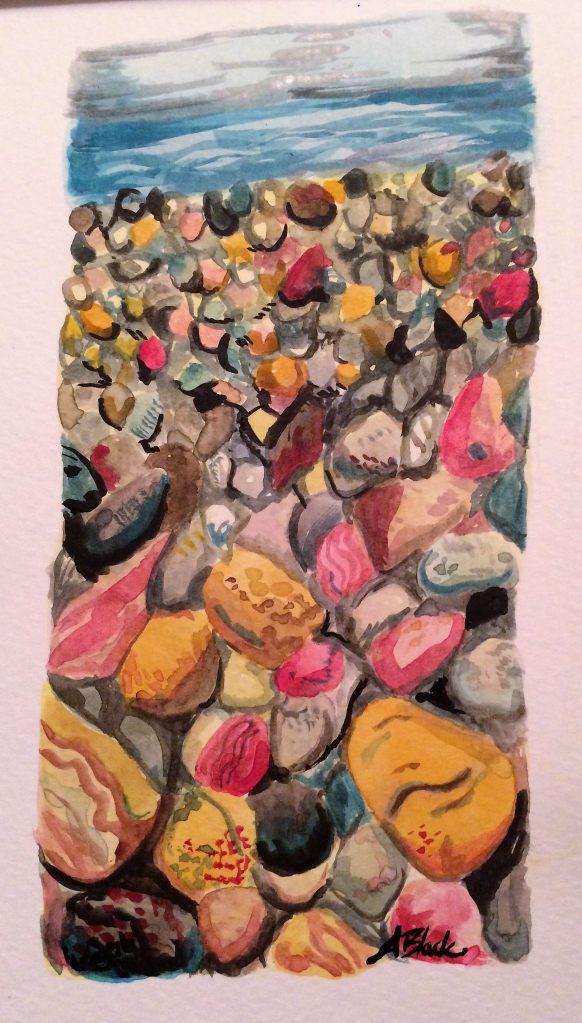 Day 13, Beach pebbles, watercolor 13
