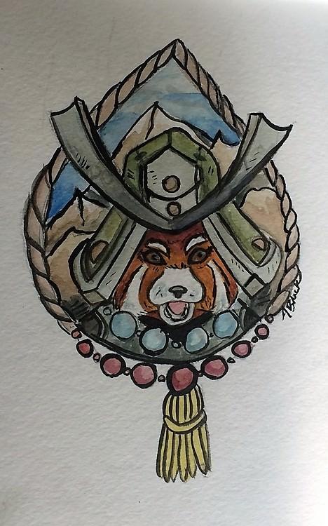 Day 15, Red Panda Samurai watercolor 15