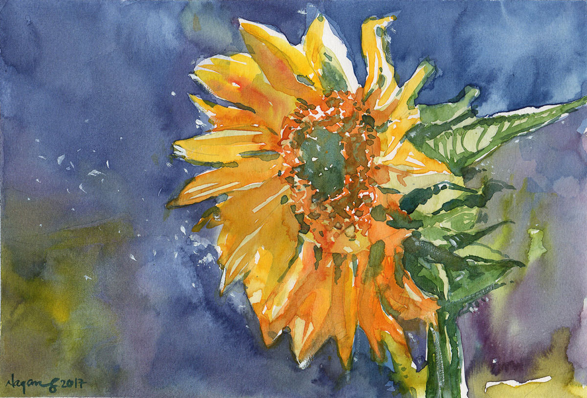 #WorldWatercolorGroup - Watercolor painting by Nay Aung - Sunshine - Doodlewash