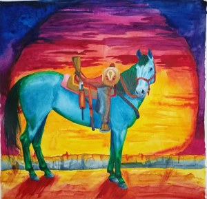 """""""Desperado"""" Watercolor on Arches paper. This piece was designed as an album cover for a"""