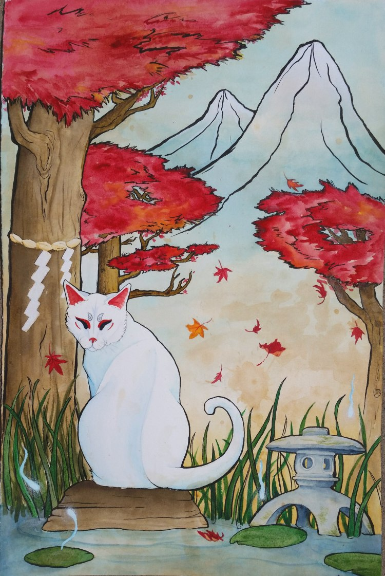 """Neko"" watercolor and ink on tea-stained Arches paper. Japanese mythology has had a big"