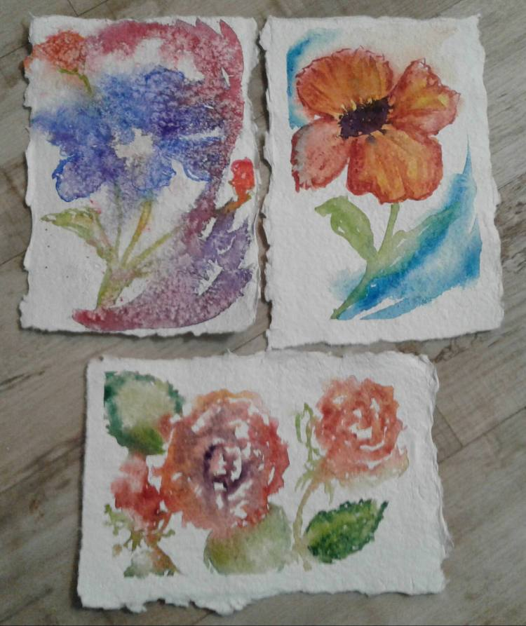 Day 41… Loose flowers. I have some handmade paper (not made by me 🙂 ) that I really don&#82