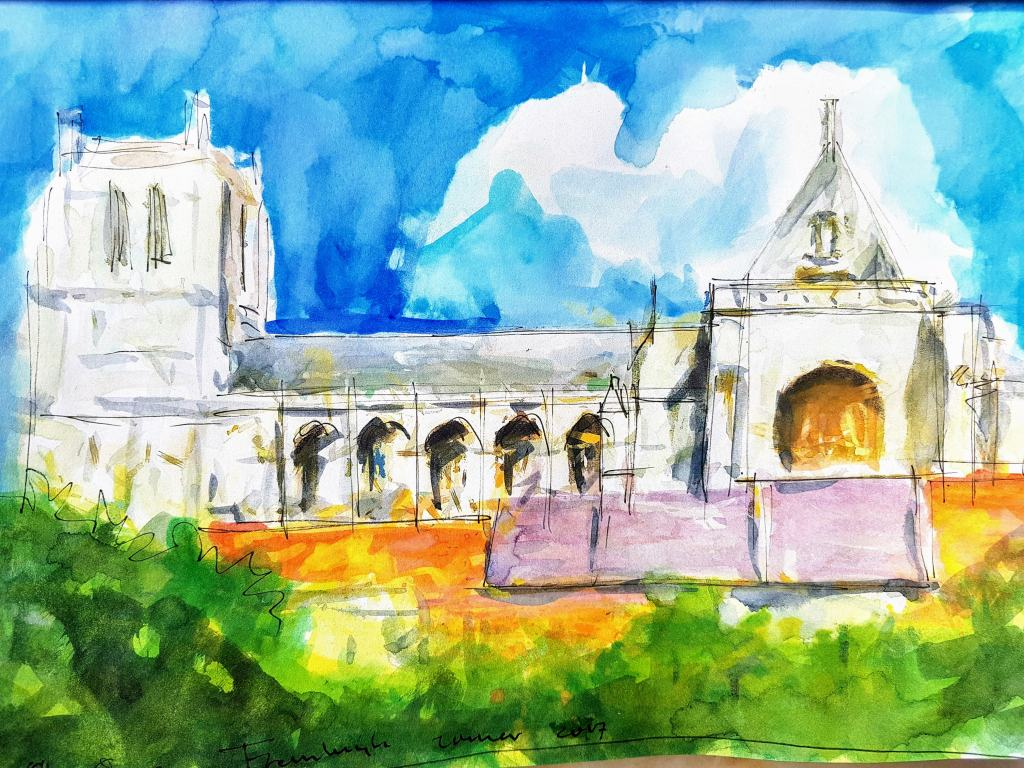 The beautiful cathedral in Saint Omaars in Northern France. pen and watercolor on paper 30×20 c