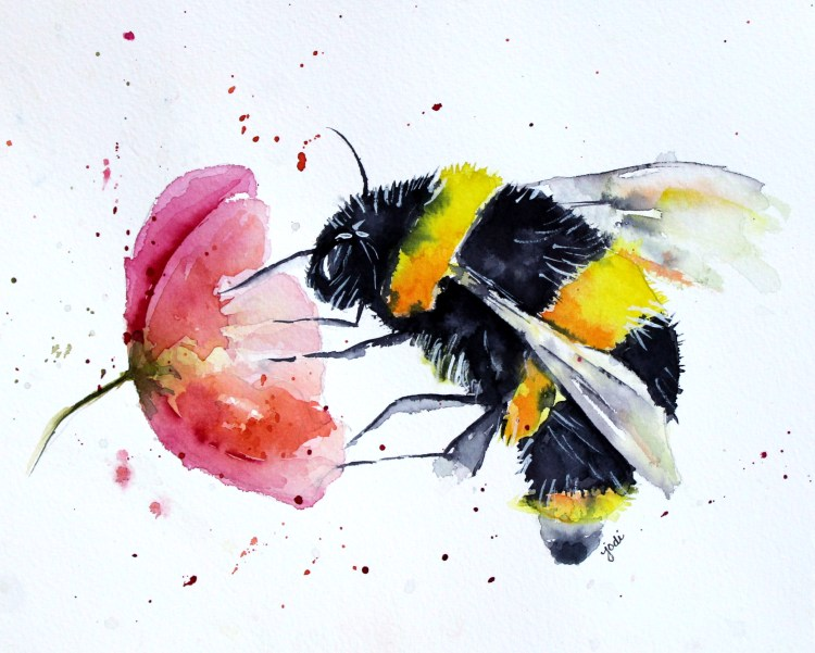 Buzz Bumble Bee Bumble Bee Buzz Watercolor 8×10 140lb Saunders Cold Press