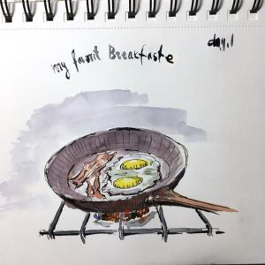 Day 1 – My Favorite Breakfast Edit I started late, but I started ) I started drawing late. I have