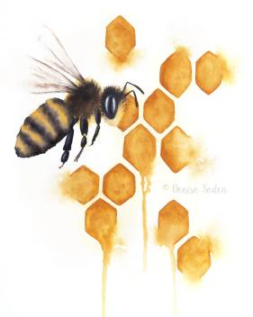 #WorldWatercolorGroup - Watercolor by Denise Soden - honey bee - Doodlewash