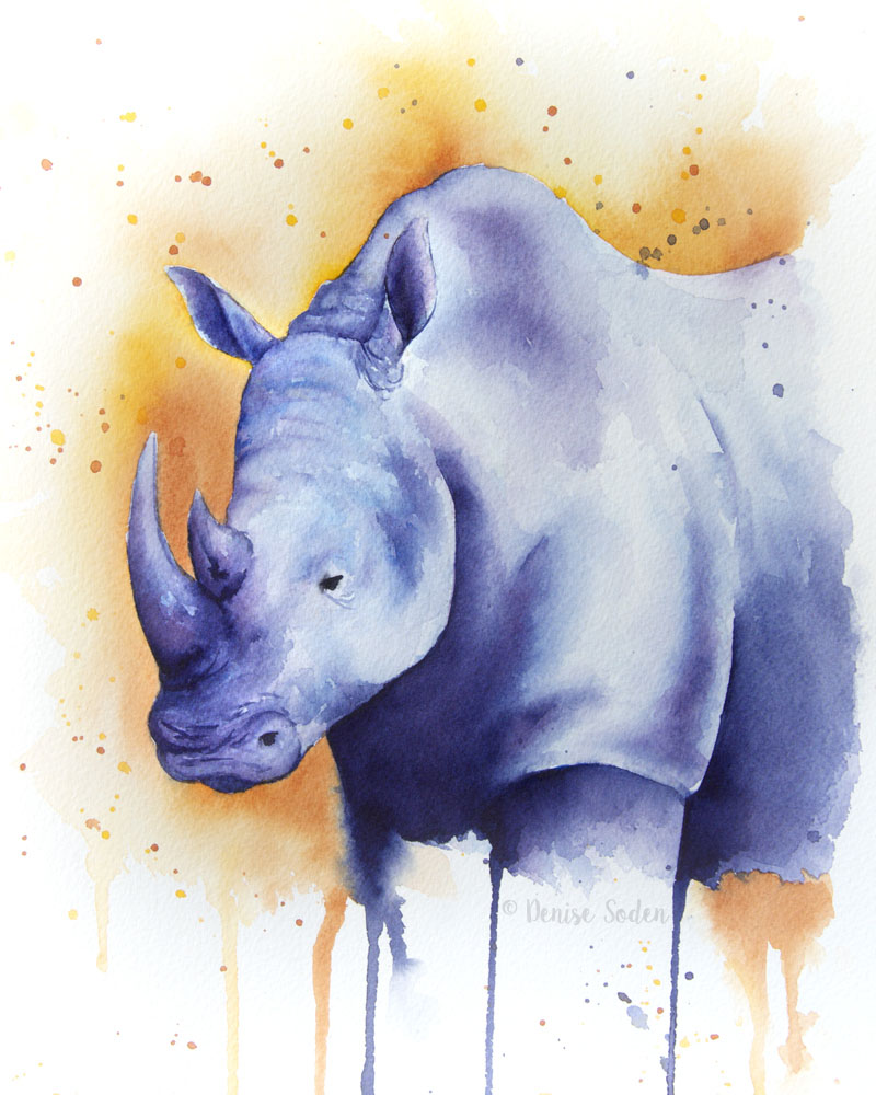 #WorldWatercolorGroup - Watercolor by Denise Soden - rhinoceros - Doodlewash