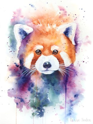 #WorldWatercolorGroup - Watercolor by Denise Soden - Red Panda - Doodlewash